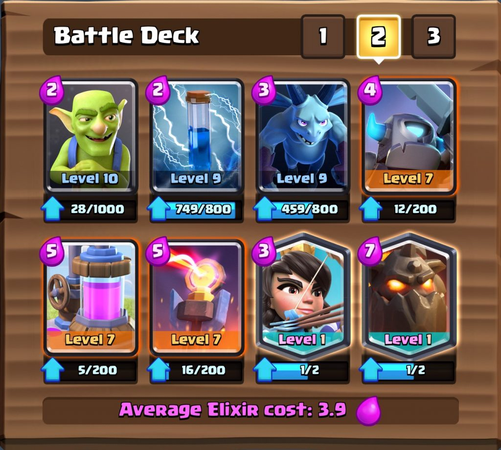 arena 9 deck cards clash royale