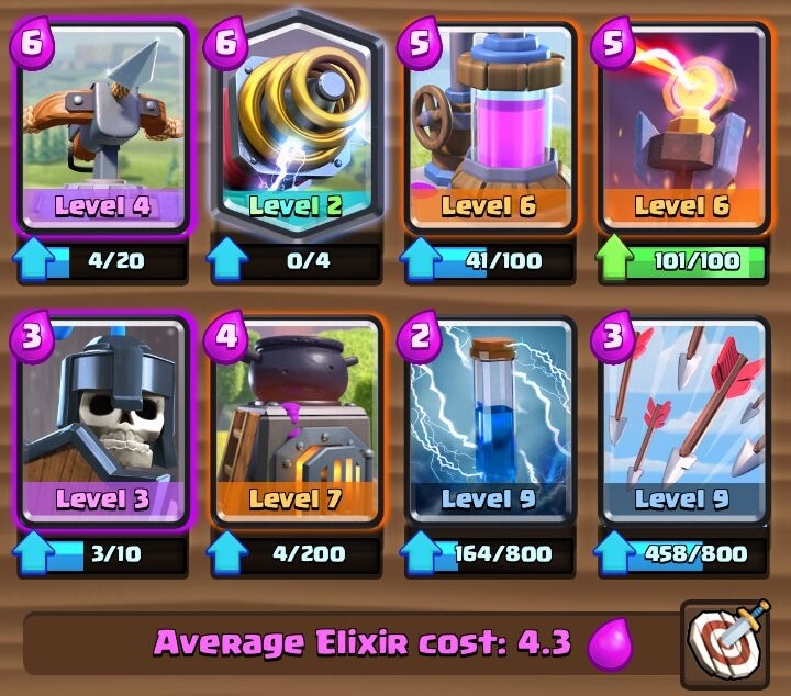 best clash royale arena 9 deck with x-bow