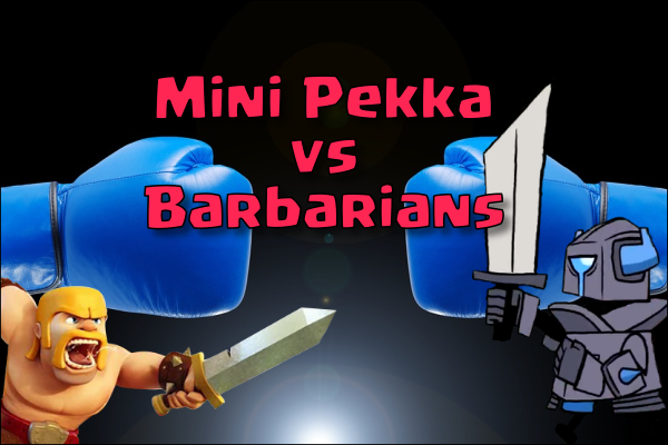 clash royale mini pekka vs barbarian