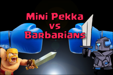 clash royale mini pekka vs barbarian